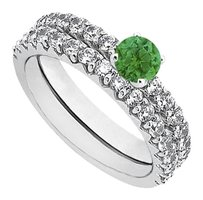 LoveBrightJewelry May Birthstone Emerald and CZ Engagement Ring with Sterling Silver Wedding Band Set 1.50 CT TGW