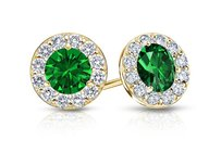 LoveBrightJewelry May Birthstone Emerald And Cz Halo Stud Earrings 18k Yellow Gold Over Sterling Silver 1 Ct Tgw