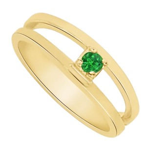LoveBrightJewelry May Birthstone Emerald Mother Ring in 14K White Gold