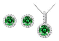 LoveBrightJewelry May Birthstone Emerald with CZ Halo Earrings and Pendant in 925 Sterling Silver