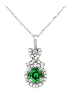 LoveBrightJewelry May Birthstone Emerald with CZ Halo Pendant in Sterling Silver
