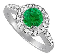 LoveBrightJewelry May Emerald and Cubic Zirconia April Birthstone Halo Engagement Ring 925 Sterling Silver