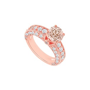 LoveBrightJewelry Milgrain Design Prong Set Morganite And Cubic Zirconia On 14k Rose Gold Vermeil Engagement Ring