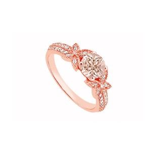 LoveBrightJewelry Morganite And April Birthstone Cubic Zirconia Butterfly Engagement Ring In 14k Rose Gold Vermeil