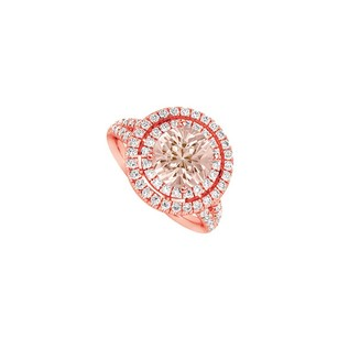 LoveBrightJewelry Morganite And Cubic Zirconia Double Halo Engagement Ring In 14k Rose Gold Top Design
