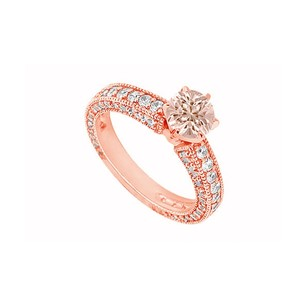 LoveBrightJewelry Morganite And Czs In 14k Rose Gold Milgrain Engagement Ring Fabulous Design At Amazing Price