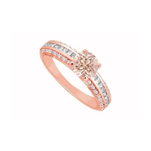 LoveBrightJewelry Morganite And Three Rows Of Diamonds In 14k Rose Gold Engagement Ring Cool Design At Fab Price