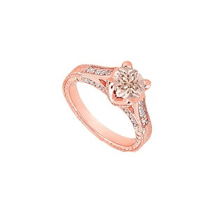 LoveBrightJewelry Morganite And Czs In Milgrain Design 14k Rose Gold Vermeil Engagement Ring At Cool Price For Her