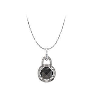 LoveBrightJewelry Natural Black Diamond Round Pendant in 14K White Gold
