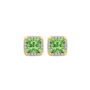 LoveBrightJewelry Natural Peridot and CZ Halo Stud Earrings 18K Vermeil