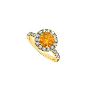 LoveBrightJewelry November Birthstone Citrine And Cubic Zirconia Halo Engagement Ring In 18k Yellow Gold Vermeil