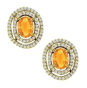 LoveBrightJewelry November Birthstone Citrine Oval Halo Earrings with CZ
