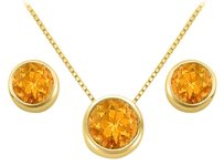 LoveBrightJewelry November Birthstone Citrine Pendant and Stud Earrings Set