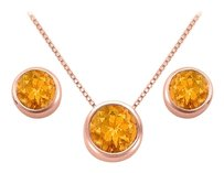 LoveBrightJewelry November Birthstone Citrine Pendant and Stud Earrings Set in 14K Rose Gold Vermeil