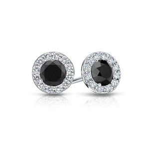 LoveBrightJewelry Onyx and CZ Halo Stud Earrings in 14K White Gold 1.50.ct.tw