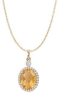 LoveBrightJewelry Oval Citrine and CZ 14K Rose Gold Vermeil Halo Pendant