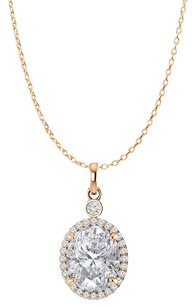 LoveBrightJewelry Oval Cubic Zirconia 14K Rose Gold Vermeil Halo Pendant