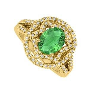 LoveBrightJewelry Oval Emerald And Cz Designer Engagement Ring For Her