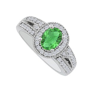 LoveBrightJewelry Oval Emerald And Cz Halo Engagement Ring In 925 Silver