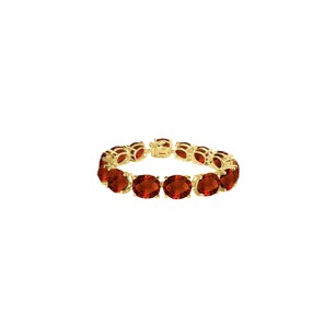 LoveBrightJewelry Oval Garnet Bracelet in 18K Yellow Gold Vermeil 50 CT TGW -