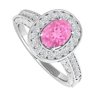 LoveBrightJewelry Oval Pink Sapphire And Cz Engagement Ring 2 Ct Tgw
