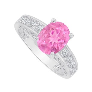 LoveBrightJewelry Oval Pink Sapphire And Cz Ring In 925 Sterling Silver
