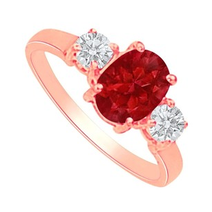 LoveBrightJewelry Oval Ruby And Round Czs Three Stones Engagement Ring