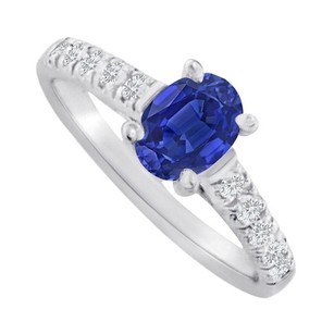 LoveBrightJewelry Oval Sapphire And Cz Accent Ring In Sterling Silver