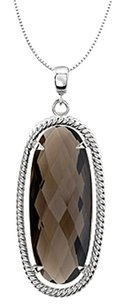 LoveBrightJewelry Oval Smoky Quartz Pendant in 925 Sterling Silver Rope Style 18 Inch Necklace 25X10 MM