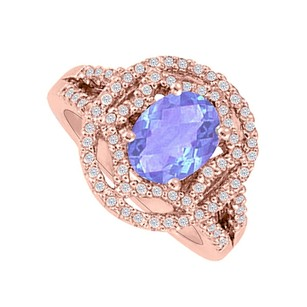 LoveBrightJewelry Oval Tanzanite And Cz Engagement Ring In Gold Vermeil