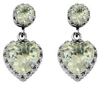 LoveBrightJewelry Pastel Green Amethyst Heart Stud Earrings 925 Silver