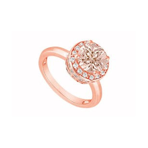 LoveBrightJewelry Pastel Pink Morganite With Czs Halo Engagement Ring 14k Rose Gold Top Design At Fab Price