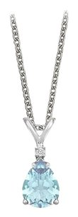LoveBrightJewelry Pear Cut Created Aquamarine and Cubic Zirconia Pendant Necklace in Sterling Silver.1.02ct.tw