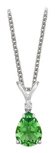 LoveBrightJewelry Pear Cut Created Emerald and Cubic Zirconia Pendant Necklace in Sterling Silver.1.02ct.tw