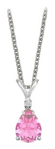 LoveBrightJewelry Pear Cut Created Pink Sapphire and Cubic Zirconia Pendant Necklace in Sterling Silver.1.02ct.tw