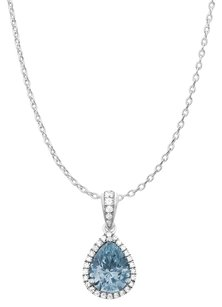 LoveBrightJewelry Pear Shape Sky Blue Topaz and Round Cubic Zirconia