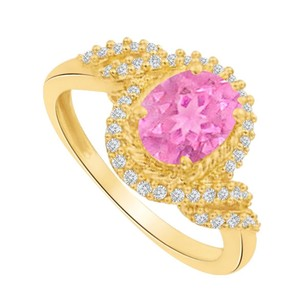LoveBrightJewelry Perfect Pink Sapphire And Czs Swirl Engagement Ring