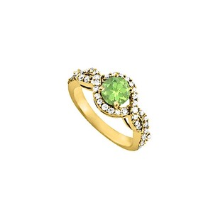 LoveBrightJewelry Peridot And Cz Ring In Yellow Gold Vermeil 1.50 Tgw