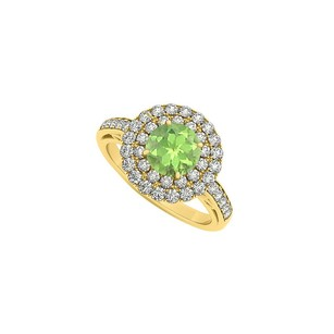 LoveBrightJewelry Peridot And Double Circle Of Cubic Zirconia 14k Yellow Gold Round Halo Engagement Ring