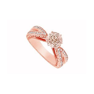 LoveBrightJewelry Pink Morganite With Cubic Zirconia Split Shank Engagement Ring 14k Rose Gold Top Design