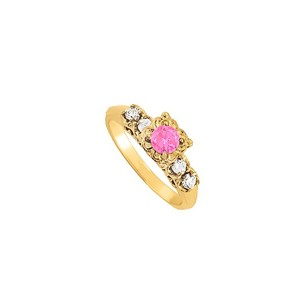 LoveBrightJewelry Pink Sapphire And Cz Ring In 18k Yellow Gold Vermeil