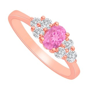 LoveBrightJewelry Pink Sapphire Cz Engagement Ring In Rose Gold Vermeil