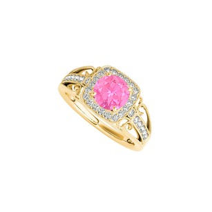 LoveBrightJewelry Pink Sapphire CZ Filigree Ring in Yellow Gold Vermeil