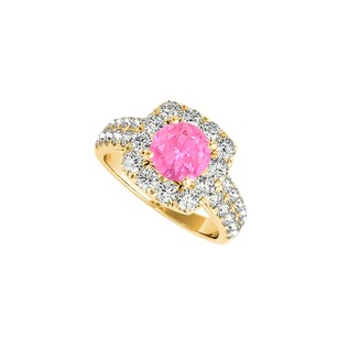 LoveBrightJewelry Pink Sapphire Cz Halo Ring In 18k Yellow Gold Vermeil