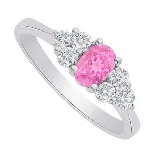 LoveBrightJewelry Pink Sapphire Cz Seven Stones Ring In Sterling Silver