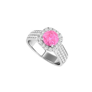 LoveBrightJewelry Pink Sapphire Halo Engagement Ring With Three Cz Rows