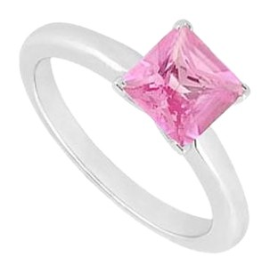LoveBrightJewelry Pink Sapphire Ring 14K White Gold 0.75 CT TGW