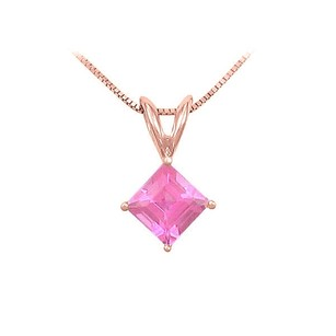 LoveBrightJewelry Pink Sapphire Solitaire Pendant 14K Rose Gold 1.00 CT TGW