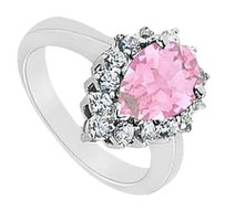 LoveBrightJewelry Pink Topaz and Diamond Ring 14K White Gold 1.50 CT TGW