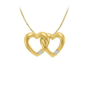 LoveBrightJewelry Precious Diamond Heart Shape Pendant in 14K Yellow Gold